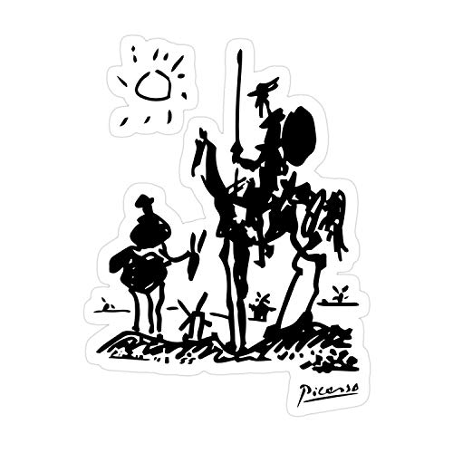 Rahula Buda 3Pcs/Pack Pablo Picasso Don Quixote 1955 Artwork Shirt Reproduction Sticker for Laptop, Phone, Cars, Decal Vinyl Funny Stickers for