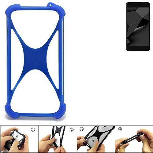 K-S-Trade® Handyhülle Für Blaupunkt SL Plus 02 Silikon Schutz Hülle Cover Case Bumper Silikoncase TPU Softcase Schutzhülle Smartphone Stoßschutz, Blau (1x),