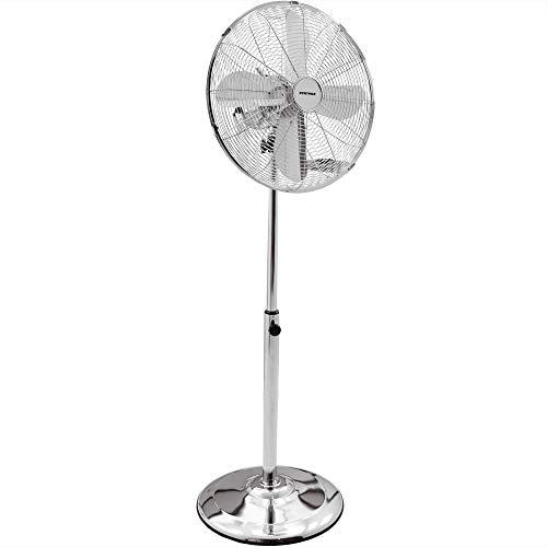 Syntrox Germany SVT-50W Chrome Retro Ventilator mit Oszillation Axialventilator Standventilator Windmaschine Lüfter Gebläse Luftkühler
