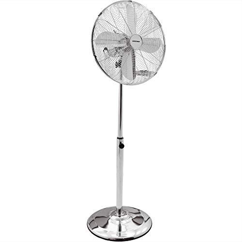 Syntrox Germany SVT-50W Chrome Retro Ventilator met oscillatie axiale ventilator staande ventilator windmachine ventilator blazer luchtkoeler