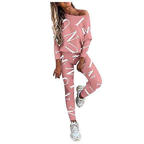 MEITING Damen 2-teiliges Set Strickanzug Pullover Anzug Langarm Schulterfrei Gestrickt Oberteile und Hosen Zweiteilige Strickpullover Sportanzug Trainingsanzug