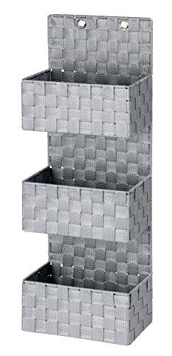 WENKO Organizer Adria Grau zum Hängen - Badkorb, 3 Etagen, Polypropylen, 25 x 72 x 15.5 cm, Grau