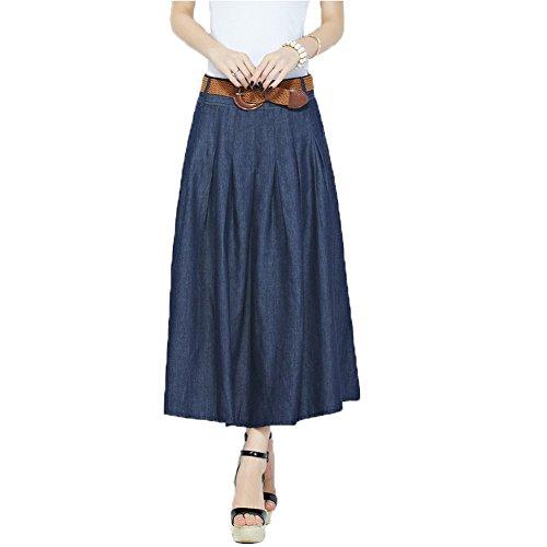 Oneworld Damen Frauen lang dünn Baumwollen Maxi Rock Jeansrock Faltenröcke Sommer Herbst Frühling Einheitgröße Taillenumfang 70cm-90cm Größe 36-38