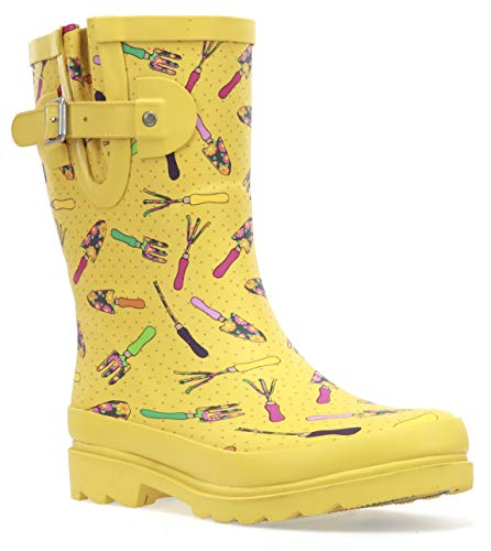 Western Chief Women's Waterproof Mid Rain Boot Shoe, Yellow, 8