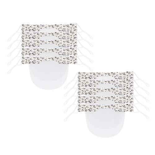 Adultos Reutilizables Pañuelos con banda Elástico para al Aire Libre 10PCS lavable transparente de PVC para adultos con flores en blanco YX-02C