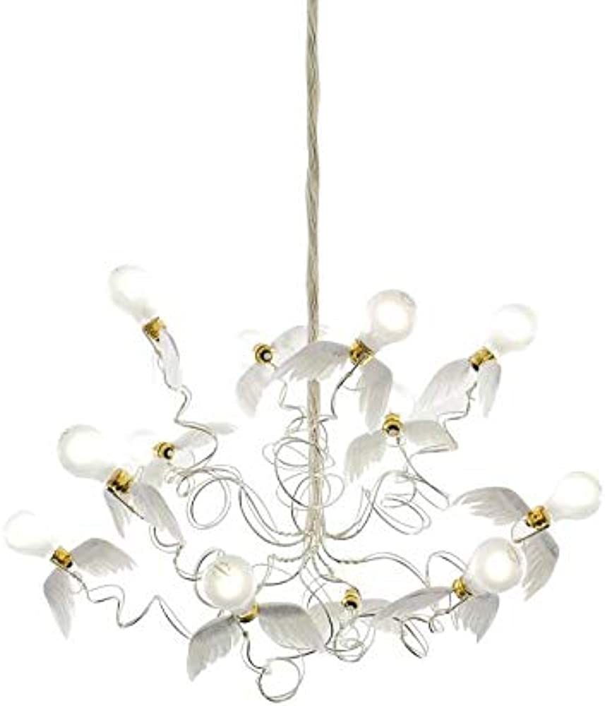 Ingo maurer birdie, lampada a sospensione,in metallo e ali in piume d`oca 1066510