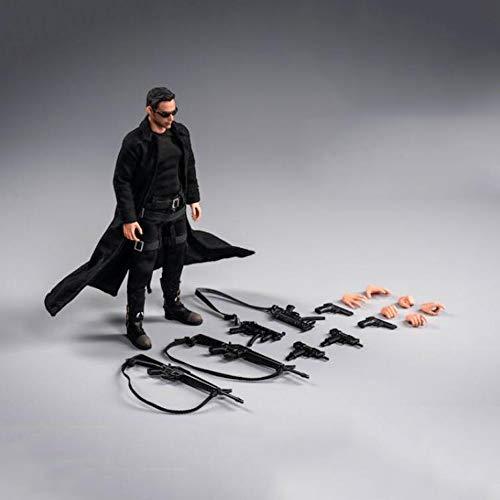 WUHAO Matrix Killer Neo Keanu Reeves 1:12 Dekorationen Weihnachten Halloween Geburtstag Kunst Modellgeschenke Bewegliche Puppensammlung Spielzeug