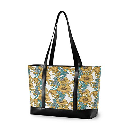 Yellow Watercolor Flower 14 15 15.4 15.6 inch Laptop Tote Bag for Women Large Lightweight and waterproof Computer Handbags Laptop Shoulder Messenger Bag
