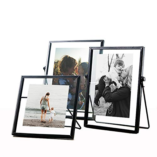 ZONYEO Set of 3 Glass Photo Frame Collection Metal Geometric Picture Frame Decor with Plexiglas Cover Includes 4' x 4', 4'x 6', 5'x 7'