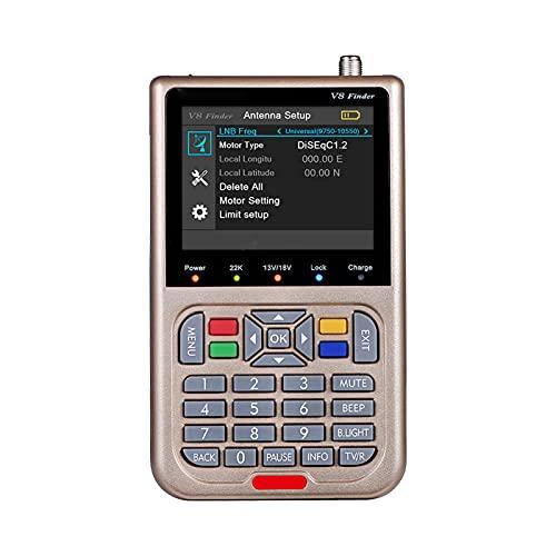 KUYG V8 Satfinder Meter Localizador de señal de satélites Digital Buscador de Satélite Medidor de Campo HD 1080P DVB-S S2 S2X 3.5  LCD Batería 3000mAh Incorporada