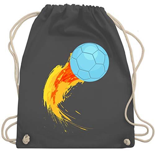 Shirtracer Handball Geschenk für Handballer - Burning ball - Unisize - Dunkelgrau - handball bälle - WM110 - Turnbeutel und Stoffbeutel aus Baumwolle