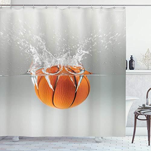 N \ A Cortina de ducha deportiva, caída de baloncesto en el agua, ocio, actividad deportiva nacional, entretenimiento, tela de tela para baño con ganchos, 72 pulgadas de largo, naranja y beige
