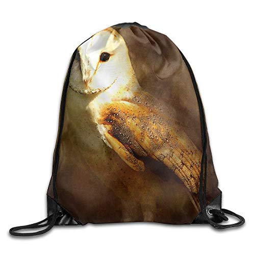 Etryrt Premium Drawstring Bag, Different Animal Barn Owl Bird Paintings Unisex Outdoor Rucksack Shoulder Bag Sport Drawstring Backpack Bag