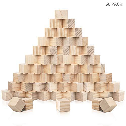 Kurtzy Kleine Holzwürfel Blanko (60er Pack)2 x 2 x 2 cm Würfel Holz - Natur Belassene Kiefer Blanko Holzwürfel - Spielsteine und Würfel zum Basteln, DIY Stempel, Puzzle & Nummern-Holzklötze Bausteine