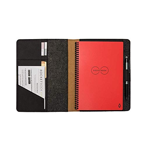 """Moonsafari A4 Reusable Notebook Cover & Rocketbook Cover Smart Business Notebook Cover for Everlast, Fusion, Wave, Moleskin and More with Pen Loop & Business Card Holder - Black,A4/Letter 11"""" x 8"""