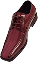 Viotti 179 - Mens Shoes - Oxford Shoes for Men - Mens Casual Dress Shoes, Wedding Shoes Striped Satin, Patent Tuxedo - Dress Shoes for Men; Color: Burgundy, 9.5