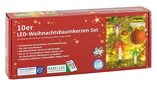 Idena 31107 – 10 stycken LED julgranskroppar för klämma, flera färger, ca 9 cm, olika lägen, med 4 eller 8 timmars timer funktion, batteridriven, med fjärrkontroll