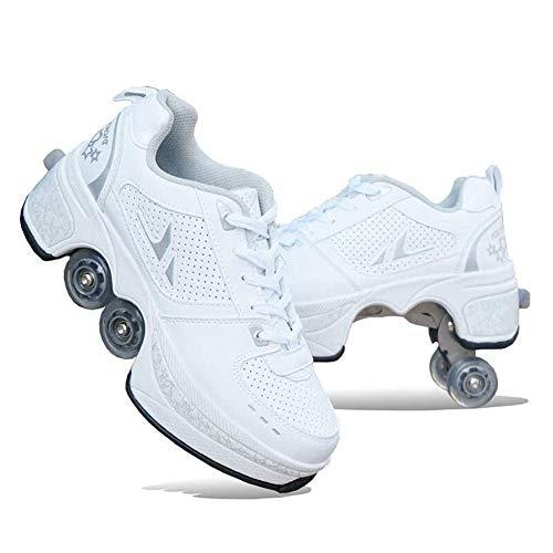 Zapatos Multiusos 2 En 1 Botas De De 4 Ruedas con Ruedas Ajustables Automática Calzado De Skateboarding Deportes De Exterior Patines En Línea,37