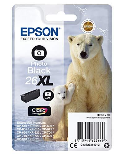 Epson Original 26XL Tinte Eisbär (XP-600 XP-700 XP-800 XP-510 XP-710 XP-615 XP-610 XP-810 XP-720 XP-820 XP-520 XP-620 XP-625, Amazon Dash Replenishment-fähig) fotoschwarz
