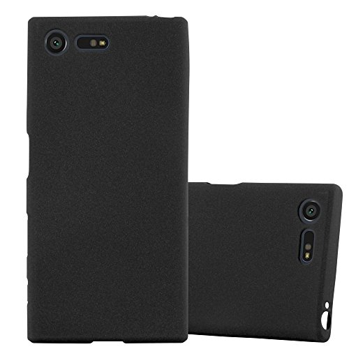 Cadorabo Hülle für Sony Xperia X Compact - Hülle in Frost SCHWARZ – Handyhülle aus TPU Silikon im matten Frosted Design - Silikonhülle Schutzhülle Ultra Slim Soft Back Cover Case Bumper