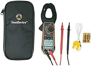 Southwire Tools & Equipment 21510N clamp meter, third-hand test probe holder, 400A AC current range, CAT III 600V safety rating, built-in non-contact voltage detector, 5 year warranty, Black Brown