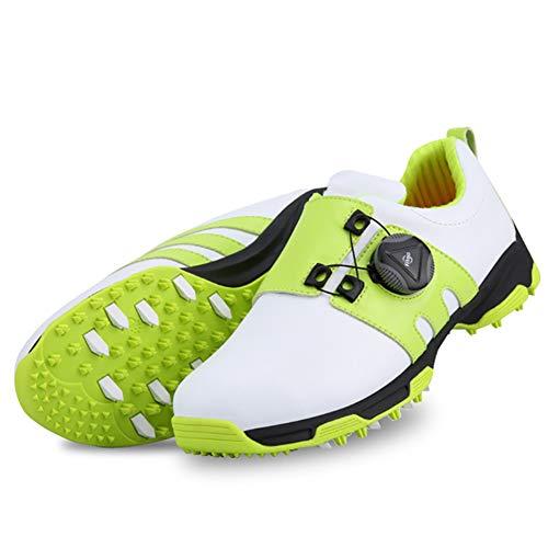 CGBF- Leichte Kinder-Golfschuhe, wasserdicht, rutschfest, Sportschuhe, mit drehbarem Schnürsystem, leicht, bequem, atmungsaktiv, Grün - grün - Größe: 34 EU