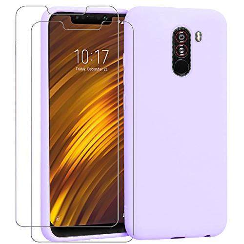 "Ingen - Funda para Xiaomi Pocophone F1 + 2 Pack Protector de Pantalla, Funda Suave de Silicona Líquida con tapete de Microfibra Anti-Rasguño. para Xiaomi Pocophone F1 6.18"".Púrpura."
