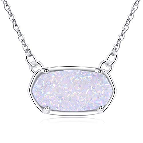 Ellena Rose Dainty Druzy Necklace, 100 Percent Natural Druzy, 14K Gold Plated Oval Druzy Pendant Necklace for Women, Druzy Necklaces for Women, Genuine Druzy Jewelry (White, White Gold)
