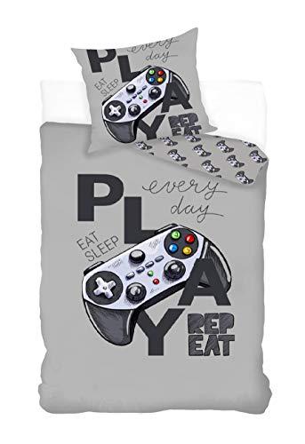 Parure de lit Gamer 100% Coton - Housse de Couette 140x200 cm + Taie d'oreiller 65x65 cm, Jeux Vidéo