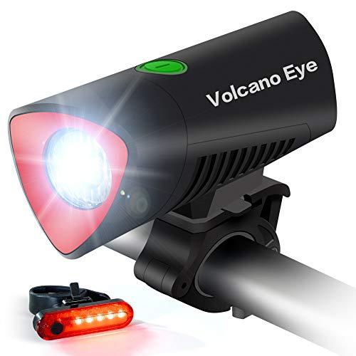 Volcano Eye Luz Bicicleta, LED Bici Delantero y Trasero Brillante Impermeable Recargable USB con 4 Modos, Kit de Faro Bicicleta para Ciclismo de Carretera Montaña Calle