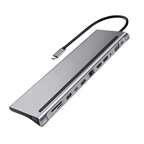 Duradero 12-IN-1 Fast USB Tipo C Hub para La Estación De Acoplamiento Dual 4K Dual HDMI RJ45 PD USB 3.0 Carga VGA Audio Adaptador De 3.5mm Hermoso