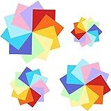 YIQI 400 Hojas de Doble Cara de Papel para Origami en 10 Colores Surtidos con 4 tamaños Distintos (100 Hojas 20 x 20cm, 100 Hojas 15x15cm, 100 Hojas 10x10cm, 100 Hojas 7x7cm)
