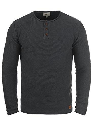 Redefined Rebel Milford Herren Strickpullover Feinstrick Pullover Mit Rundhals Und Knopfleiste Aus 100% Baumwolle, Größe:L, Farbe:Antracit Grey