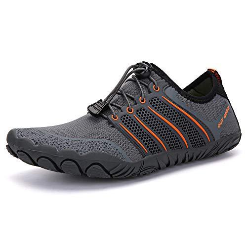Y-PLAND Zapatillas de rastreo de Deportes de Playa de natación, Zapatos de Escalada al Aire Libre, Zapatos de balanceo de Gran tamaño Zapatos de equitación de Fitness-Gris_EU42