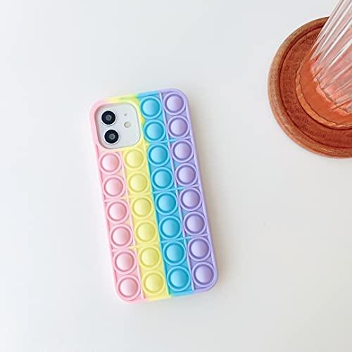 CrazyLemon Funda para iPhone 12 Pro MAX, Push Pop It Fidget Toy Rainbow Funda para teléfono 3D Stress Relief Funda Protectora Suave de Silicona para iPhone 12 Pro MAX - 05