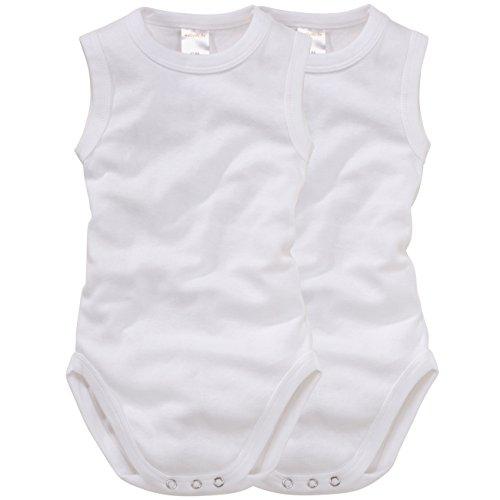 WELLYOU Body sin Mangas para bebés/niños y niñas, Hecho 100% se algodón. Conjunto de 2 Color Blanco. Tallas 50-134