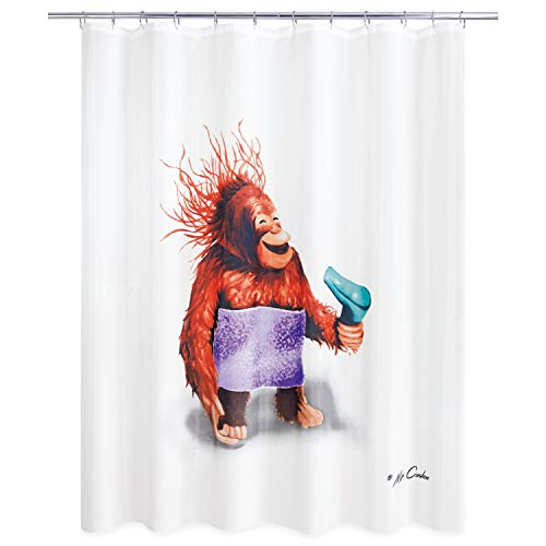 Blow Dryer Monkey Shower Curtain Brown Novelty Polyester