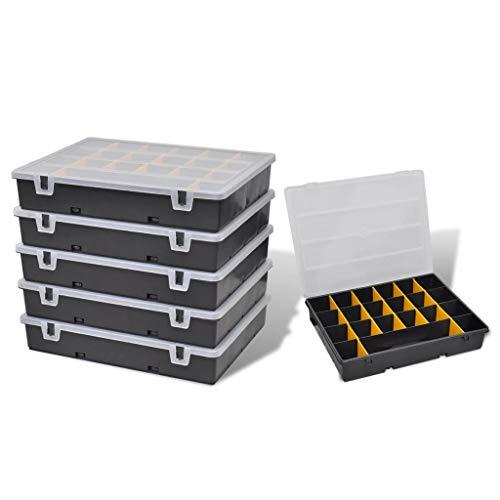 UnfadeMemory Set de Caja de Herramientas,Organizador de Herramientas para Taller,6 Cajas,Plástico 36x28x6,5cm