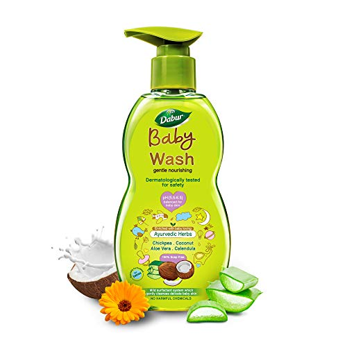 Dabur Baby Wash: With No Harmful Chemicals & Tear Free Formula |Contains Aloe Vera & Calendula | pH balanced , Hypoallergenic & Dermatologically Tested with No Paraben & Phthalates - 500 ml