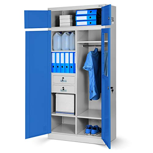 Mehrzweckschrank C117 Aktenschrank Büroschrank Metallschrank Spind Geheimfach Schubladen Stahlblech abschließbar 200 cm x 90 cm x 50 cm (grau/blau)