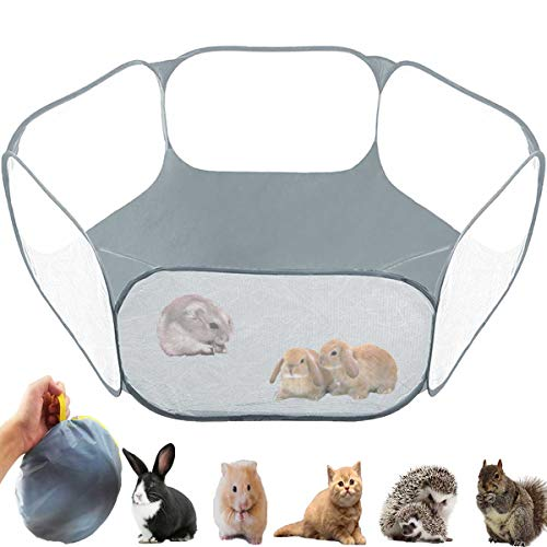 GABraden Small Animals Tent,Reptiles Cage,Breathable Transparent Pet Playpen Pop Open Outdoor/Indoor Exercise Fence,Portable Yard Fence for Guinea Pig,Rabbits, Hamster,Chinchillas and Hedgehogs (Grey)
