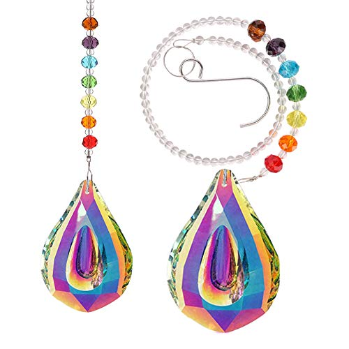 Tagaremuser 2 Pieces Colorful Sun Catcher Feng Shui Crystal Suncatchers for Window with Rainbow Chakra Bead and 76mm Chandelier Crystal Prism Drops
