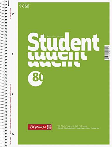 Brunnen 1067940 Notizblock / Collegeblock Student (A4, unliniert 70 g/m², 80 Blatt) 5 Stück
