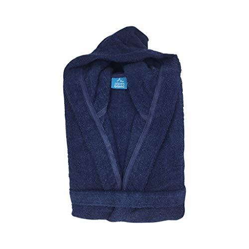 Peignoir de Bain Capuche Éponge 100% Coton / Peignoir Homme et Femme / Sortie de Bain Éponge 100% Coton (Bleu Marine / Navy Blue, XL)