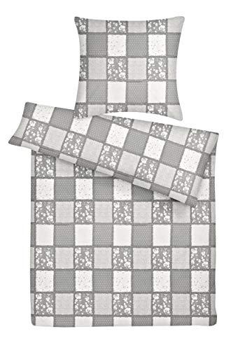 Carpe Sonno Seersucker Bettwäsche Set Patchwork-Muster 135 x 200 cm Grau, Bettzeug aus 100% Baumwolle mit Reißverschluss - Der bügelfreie & luftig leichte Sommer Bett-Bezug 200x135