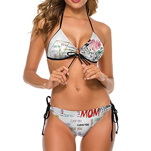 Bikini traje de baño para mujeres madres corazones rosa dos piezas traje de baño novia traje de baño vacaciones sin espalda, Blanco-estilo1, 52