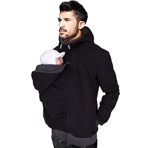 Men's Kangaroo Hoodie for Dad and Baby Carrier Coat Baby Carriers Sweatshirt Pullover (XX-Large)
