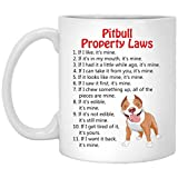 Pitbull Property Laws Dog Coffee Mug 100% Ceramic 11-Ounce White Mug Funny Gift Idea for Him or Her, Women and Mother, Father's Day, Sister, Brother, Parent