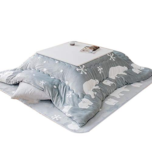 Tische Kaffeetische Kotatsu Bett Niedrigen Klappspeicher Heiztisch Tatami Couchtisch Am Ofen Indoor Warmen Beistelltische (Color : Gray, Size : 75 * 75cm)