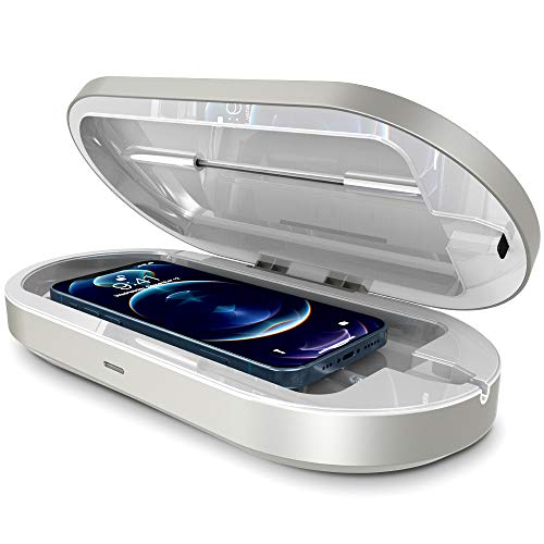 Trianium Smartphone UV Sanitizer and USB C and USB A Charging Port Phone Charger Box, Phone Sanitizer UV Soap Sterilizer UVC Disinfection Cleaner Box for Home Makeup Tool Jewelry Watch Keys Cards